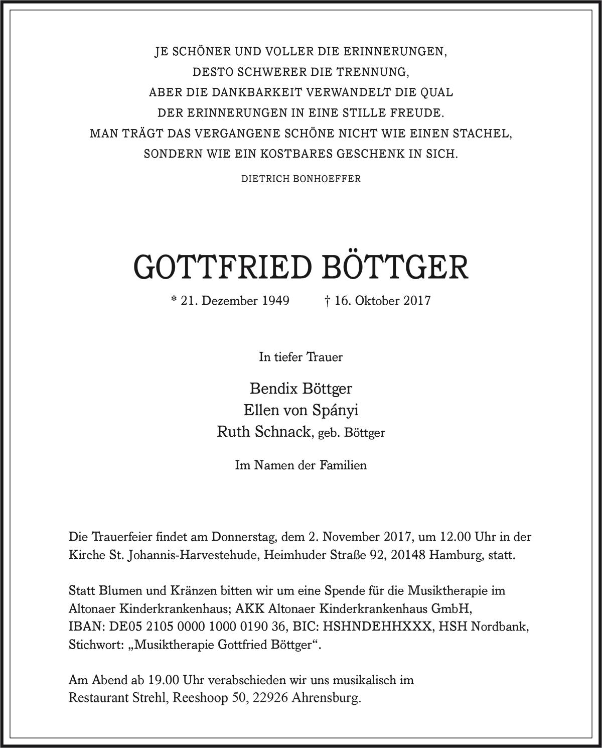 Traueranzeige Gottfried Böttger